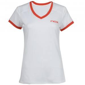 Camiseta Nox Team Blanca-Roja Mujer