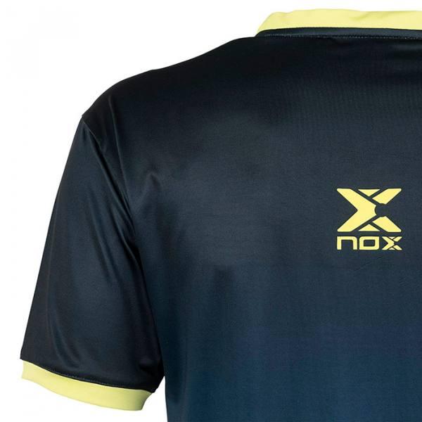 Camiseta Nox Pro Azul-Lima Detalle
